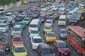 Rush hour traffic on April 9 2016 in Bangkok Thailand