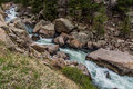 Rushing stream river water through eleven mile canyon colorado and small rapids over and around rocks in rocky beautiful spring Royalty Free Stock Images