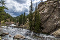 Rushing stream river water through eleven mile canyon colorado and small rapids over and around rocks in rocky beautiful spring Stock Photos