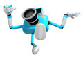 Rushing toward the left side of the cyan camera character creat create d robot serie Stock Photography