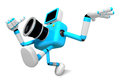 Rushing toward the left side of the cyan camera character creat create d robot serie Royalty Free Stock Photos