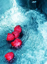 Rushing water and raspberries Stock Photo