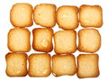Rusks bread toast biscuits diet food background many small dried loaf as texture healthy nutrition Stock Photo