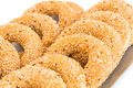Rusks with sesame seeds round on tray Royalty Free Stock Photos