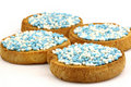 Rusks with white and blue anise seed sprinkles Stock Photos