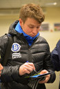 Ruslan rotan dispense autographs photo was taken during the match between fc dnipro dnipropetrovsk city and fc metalurg d donetsk Royalty Free Stock Photo