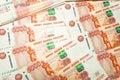 Russe five thousand billets de banque de rouble Photographie stock