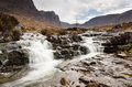 Russel burn waterfall is a typical highlands mountain stream Stock Photography