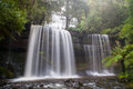 Russell falls in mt field national park on a cold winter s morning in tasmania australia Stock Photography