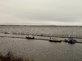 Russia arkhangelsk northern dvina river boats near boat station at autumn day Stock Image