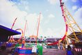 Russia august colorful looping roller coaster on beautiful sunny day in moscow Stock Images