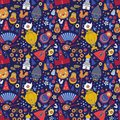 Russian Moscow colored icons seamless background abstract pattern. Vector illustration