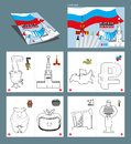 Russia coloring book. Patriotic sign for coloring. National Symbols of Russia. Moscow Kremlin and map of country. Russian ruble