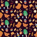 Russia cultural symbols colorful icons seamless vector pattern