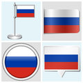 Russia flag set of sticker button label and fl various flagstaff Royalty Free Stock Photos
