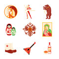 Russia icons animal religious and culture symbols of Royalty Free Stock Photo