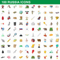 100 russia icons set, cartoon style