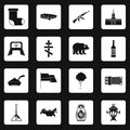 Russia icons set squares vector