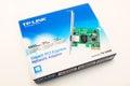 Russia, Izhevsk - April 26, 2017:Gigabit PCI Express Network Adapter TP-LINK TG-3468. Royalty Free Stock Photo
