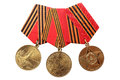 RUSSIA - 1995, 2005, 2010: Jubilee Medals 50, 60, 65 Years of Victory in the Great Patriotic War 1941-1945 Royalty Free Stock Photo