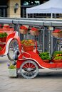 Russia, Kazan June 2019. Flowerbed with flowers in the form of an old car Royalty Free Stock Photo
