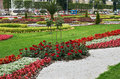 Russia. Lawn with flowers at the exhibition of achievements of the national economy in Moscow. June 21, 2016. Royalty Free Stock Photo