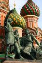 Russia moscow red square basil church in in in front there is statue of two men Royalty Free Stock Photography