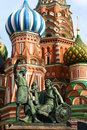 Russia moscow red square basil church in in in front there is statue of two men Stock Photography