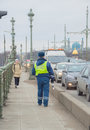 Russia, Saint-Petersburg, 16 February 2017 - the bridge is a traffic police officer