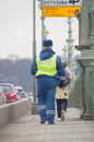 Russia, Saint-Petersburg, 16 February 2017 - the employee of traffic police look out for violators on the bridge