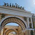 View of the Triumphal Arch of the General Staff Building on Palace Square on a warm sunny spring day Royalty Free Stock Photo