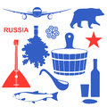 Russia set isolated objects on white background vector illustration eps Royalty Free Stock Image