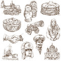 Russia set no full sized hand drawn illustrations Stock Photography