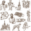 Russia set no full sized hand drawn illustrations Stock Images
