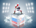 Russia - Slovakia game. Face-off player on the ice cube.