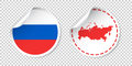 Russia sticker with flag and map. Russian Federation label, roun Royalty Free Stock Photo