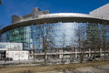 22.03.2017. Russia, Sverdlovsk region, city of Yekaterinburg, a fragment of the facade of the Yeltsin centre. The modern architect