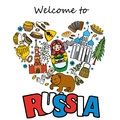 Russia travel heart set with traditional national elements icons