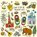 Russia travel set with traditional national elements icons set
