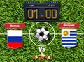 Russia vs Uruguay Football score board 2018 World championship Vector. Realistic template teams soccer national flags. green grass