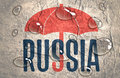 Russia word under umbrella.