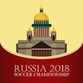 Russia 2018 World cup. Football banner. Vector flat illustration. Sport. Image of St. Isaac`s Cathedral
