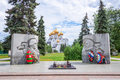 Russia, Yaroslavl, the soldiers monument and the Assumption Cathedra