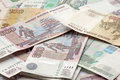 Russian banknotes close up of heap of Royalty Free Stock Photos