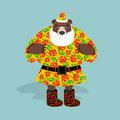 Russian bear in guise of snata claus wild animal in christmas attire new years character national texture Stock Photography