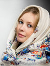 Russian beauty portrait of in the shawl Royalty Free Stock Photography