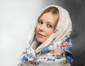 Russian beauty portrait of in the shawl Royalty Free Stock Photo