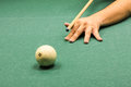 Russian billard play ball and cue on green cloth Royalty Free Stock Photo