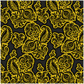 Russian black floral pattern Stock Images