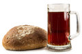 Russian brew in mug and loaf on white of wheat rye flour isolated background Stock Image